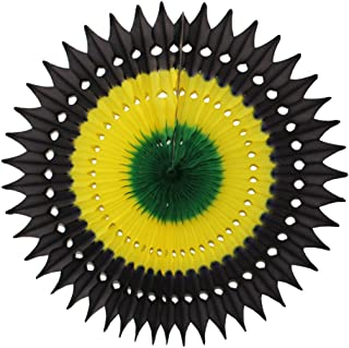 product image for 3-Pack 21 Inch Tissue Paper Party Fan Decoration (Jamaican - Black/Yellow/Green)
