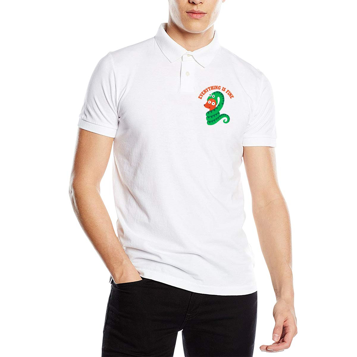 Everything is FINE Mens Short Sleeve Polo Shirt Regular Blouse Sportswear