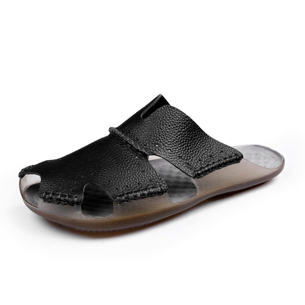 AIRIKE Men Casual Leather Beach Sandals Flat Slip-ONS Slippers Non-Slip Closed Toe Summer Shoes with Big Size