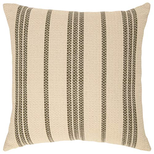Stone & Beam Modern Striped Throw Pillow - 18 x 18 Inch, Olive Multi