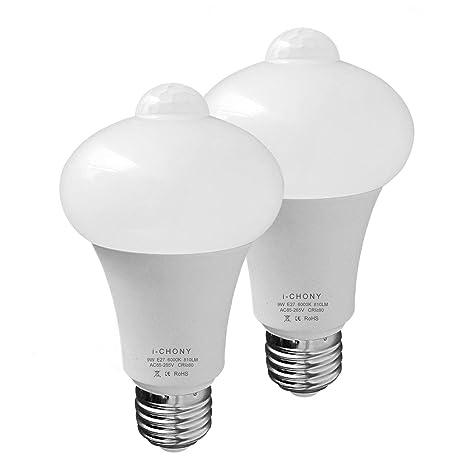 Bombilla LED I-chony con sensor de movimiento para el amanecer y el atardecer,