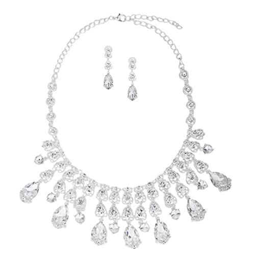 efa2815558 Image Unavailable. Image not available for. Color: XINWOO Bridal Austrian  Crystal Necklace and Earrings Jewelry Set Gifts fit with Wedding Dress