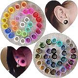 YOFANST 56pcs Colorful Silicone Ear Gauges Double