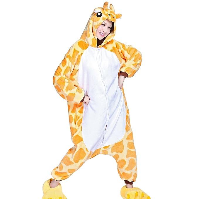 Aivtalk - Franela Onesies Pijamas Adulto Unisex Pijama de Animal Disfraz de Jirafa Amarilla Divertido con