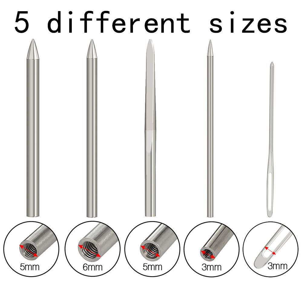 BKpearl 5 Pcs Paracord FID 550 Stainless Steel Lacing Stitching Needles and Paracord Smoothing Tool with Velvet Bag Perfect for Paracord Bracelet and Leather Weaving