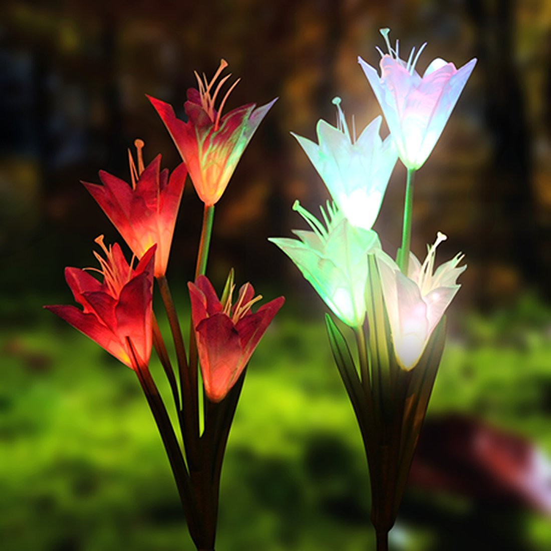 Solar Garden Stake Lights-Solar Lights Outdoor Decorative, 2 Pack Multi-color Changing Solar Powered Led Lights with 8 Lily Flower for Garden, Patio, Yard, Backyard Decorations(Purple and White)