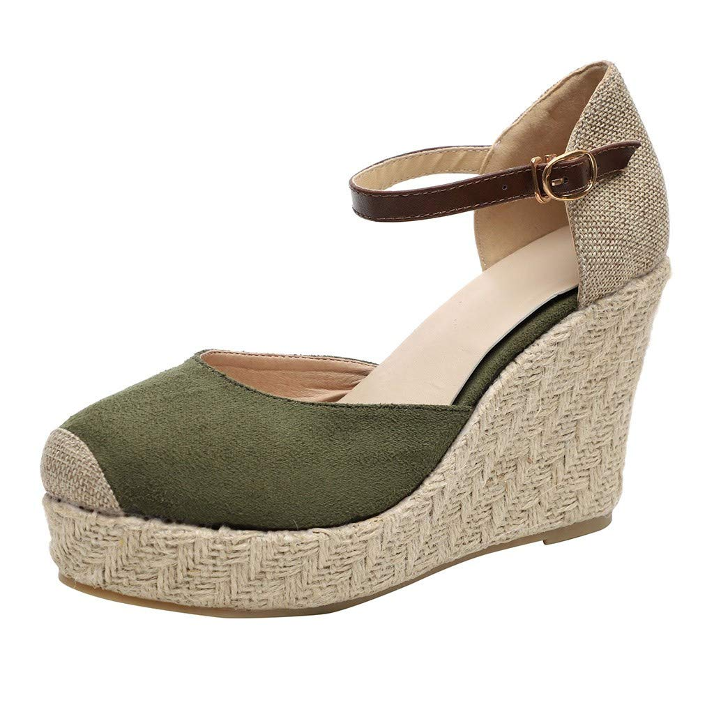 Women's Buckle Band Ankle Strap Round Toe High Ankle Closed Toe Espadrilles Wedges Heel Sandals Green