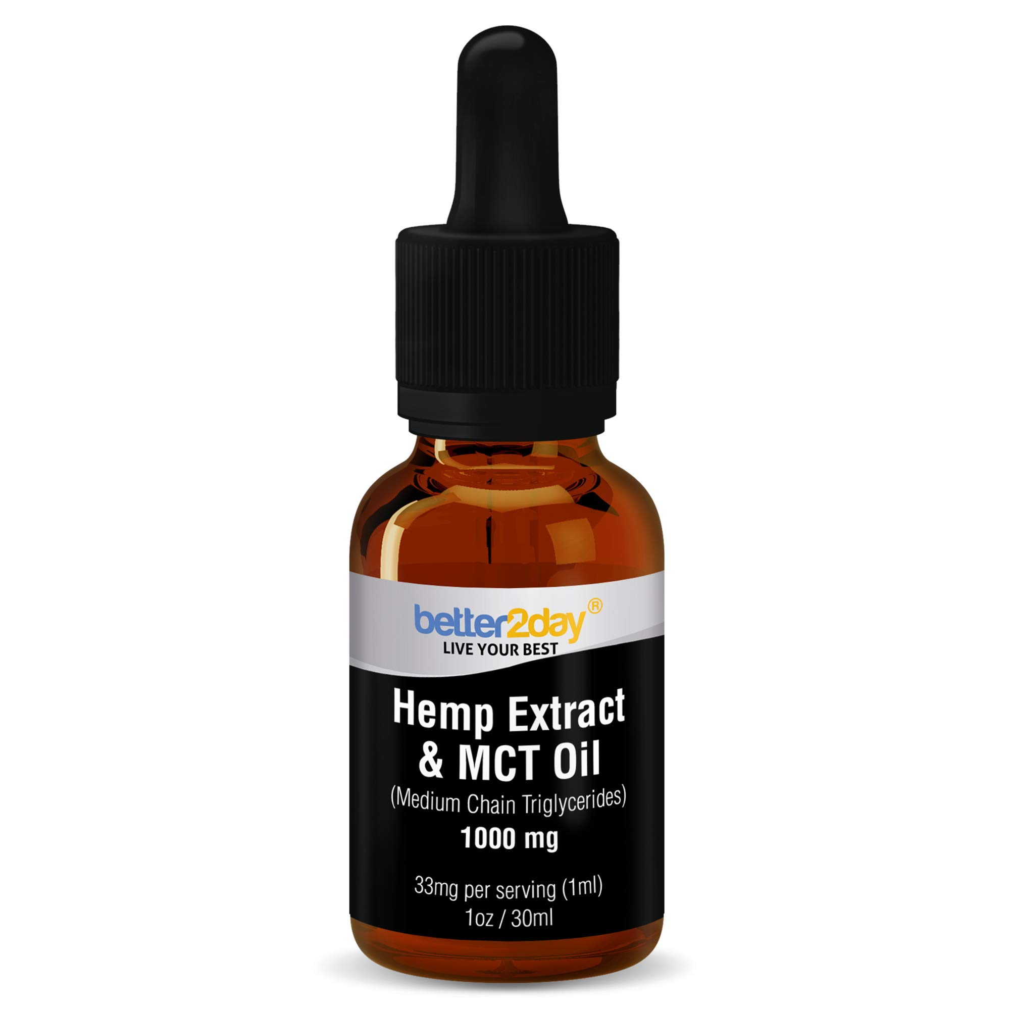 Hemp Extract + MCT Oil (1000mg) - From 100% Organic Colorado Grown Hemp Seed By Better2Day. Rich in Omega 3, 6 Fatty Acids. Natural Anti Inflammatory. Helps with Anxiety, Sleep, Mood, Skin and Hair