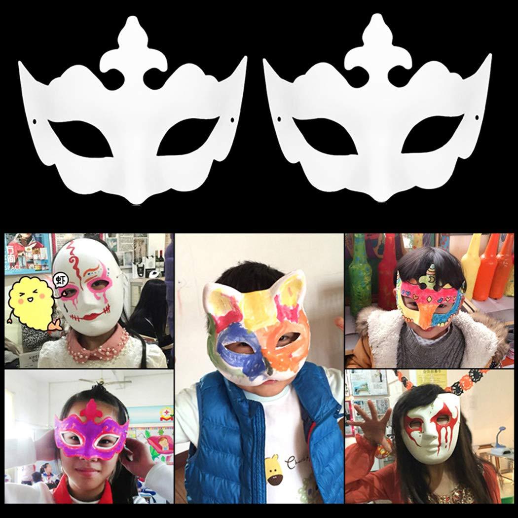 ZOYLINK 12pcs Masque de Partie Peinture Vierge Bricolage Assortis Types Masque de Costume pour Halloween