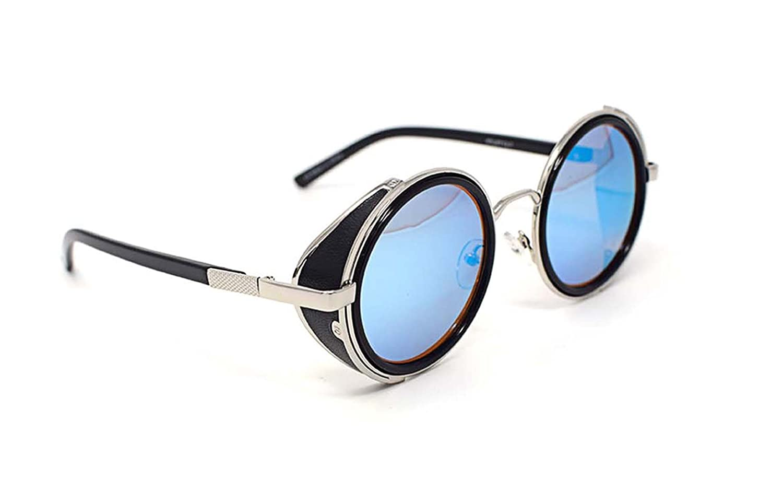 Lunettes de soleil ultra Steampunk d'argent avec les lentilles bleus 50 s lunettes rondes avec Protection UV400 disponible en or argent brun bleu miroir imprimé léopard et thé cuivre Cyber Goggles Got nL2xGu1D
