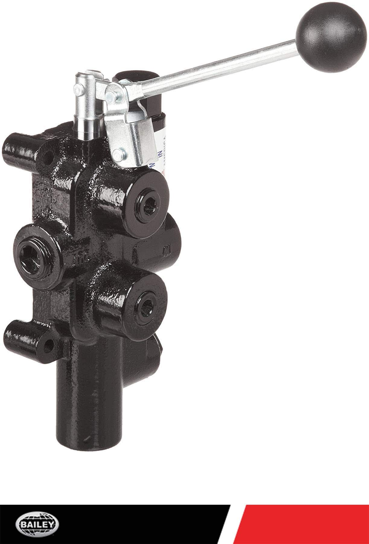 Prince LS-3030-1 Directional Control Valve, Logsplitter, 4 Ways, 3 Positions, Spring Center to Neutral, Cast Iron, 2750 psi, Lever Handle, 25 gpm, In/Out: 3/4 NPTF, Work: 1/2 NPTF