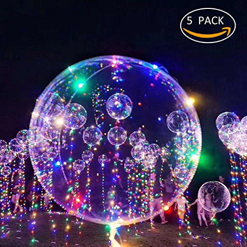 New Arrival 18 inch LED Light Balloons Flashing Colourful 3M String great for Parties Celebrations Decorations (Pack 5) ANYU -