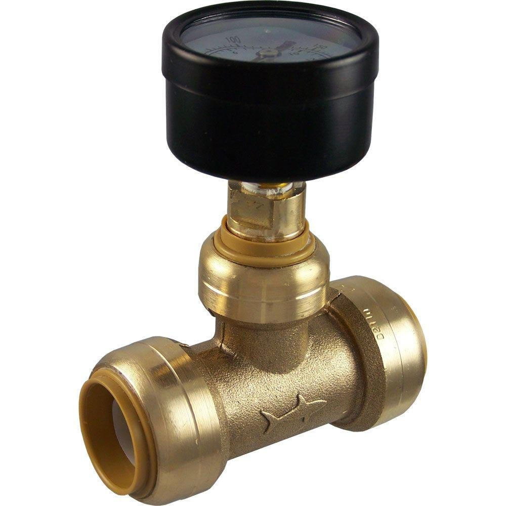 SharkBite 24438 Brass Push-to-Connect Tee with Water Pressure Gauge, 3/4''