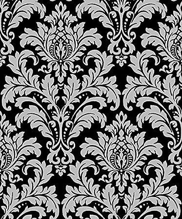 Vinyltapete Tapete Barock Retro # schwarz/silber # Fujia Decoration ...