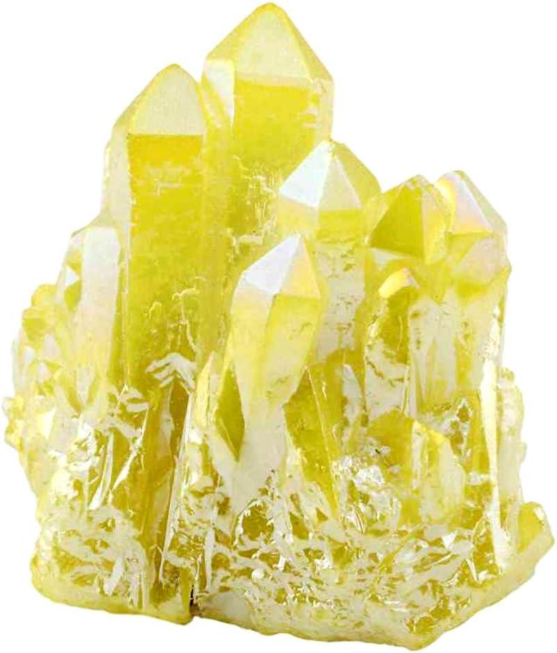 ECYC Natural Titanio recubierto de cristal de cuarzo racimo Drusy, sanación Reiki Energy estatuilla de piedra natural Decoración para el hogar, Amarillo