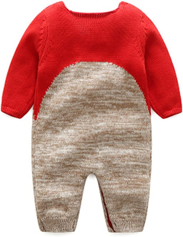 TOPJ Newborn Baby Girls Boys Deer Pattern Long Sleeve Rompers Outfit Jumpsuit