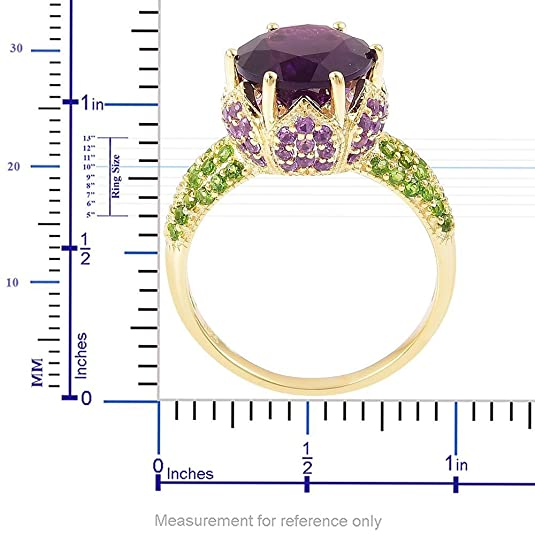 Amethyst, Diopside Ring in Yellow Gold Over Sterling Silver 5.810 Ct