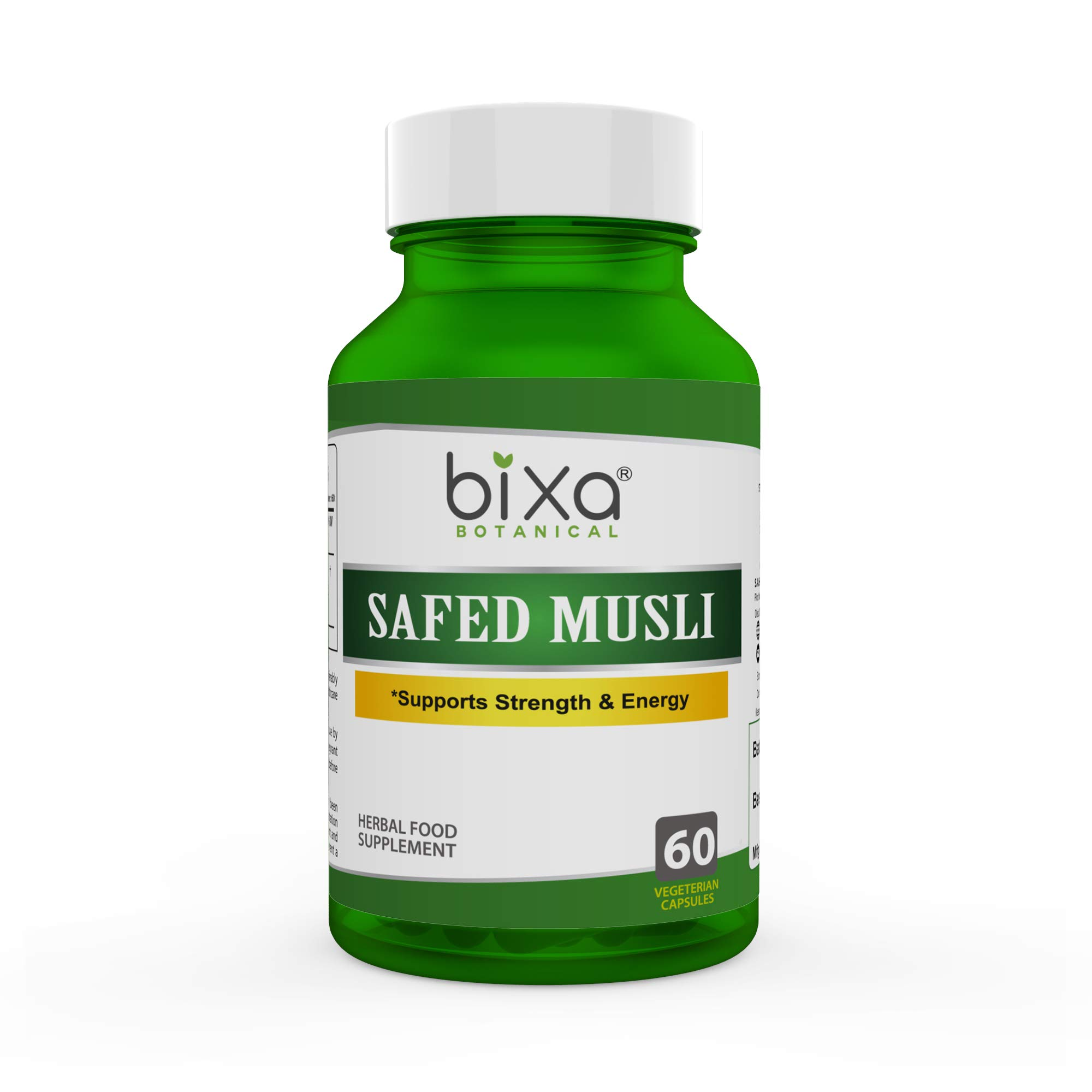 Safed Musli Extract Capsules (Chlorophytum borivilianum) - bixa BOTANICAL(60 Veg Capsules 450mg)