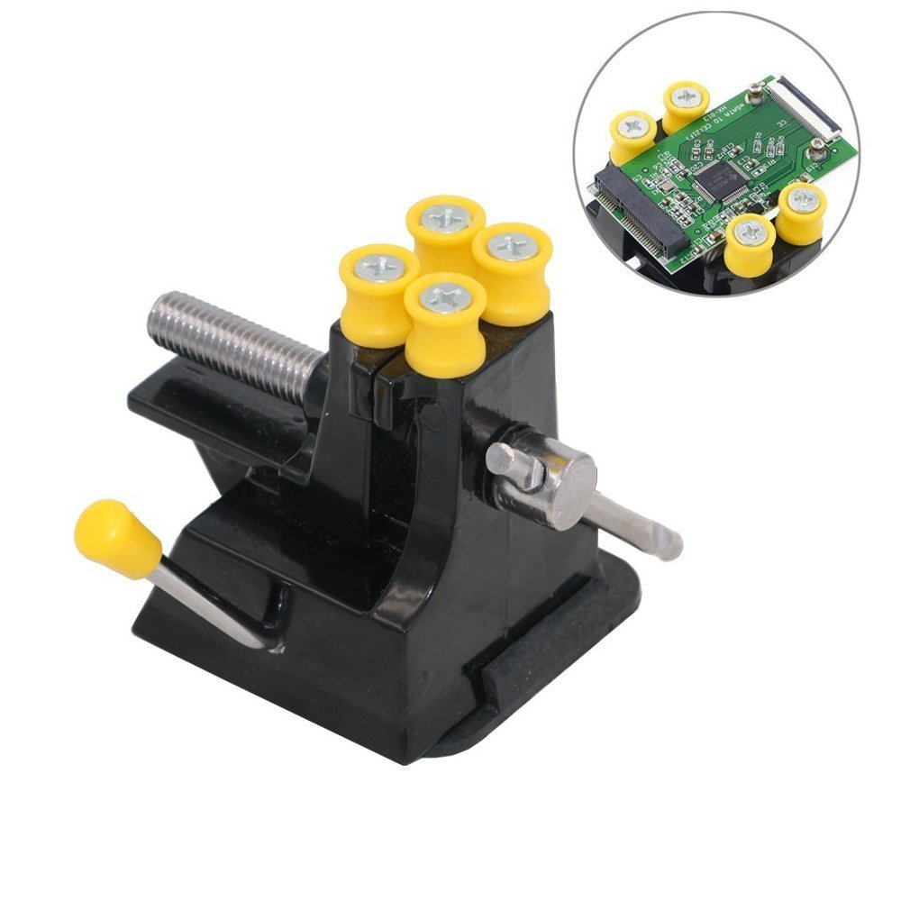 Bestgle Mini Suction Tabletop Vise Walnut Clamp Bench Vise Drill Press Vice for Jewelry Craft Model Repair DIY Carving Tool