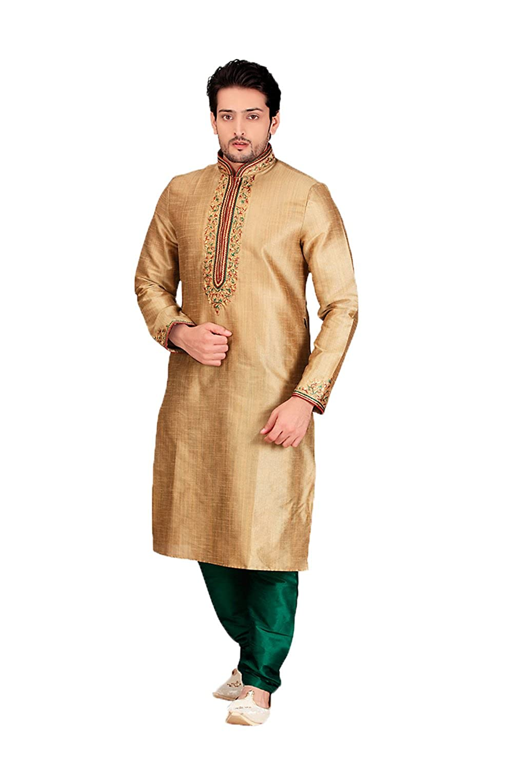 Daindiashop USA Indian Kurta pajama set for Men Wedding Festival Green 1619340