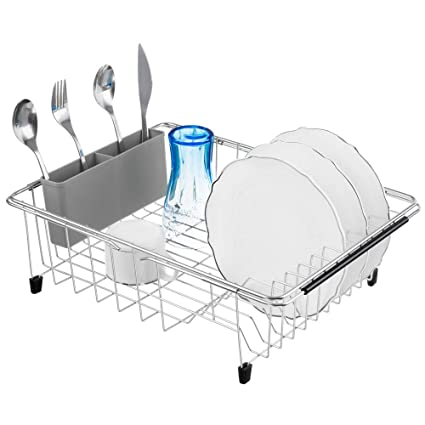 Expandable Dish Drying Rack 304 Stainless Steel Over Sink Dish Rack Rustproof Large Dish Drainer in Sink or On Counter with Utensil Drying Rack
