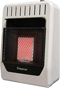 ProCom MG1TIR Dual Fuel Ventless Infrared Plaque Gas Heater, 10,000 BTU, White