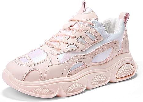 ASTAOT Zapatos para Correr para Mujer Zapatillas De Deporte Rosadas Que Aumentan La Altura Tendencia Zapatos Deportivos para Caminar Transpirables para Mujer-White: Amazon.es: Deportes y aire libre