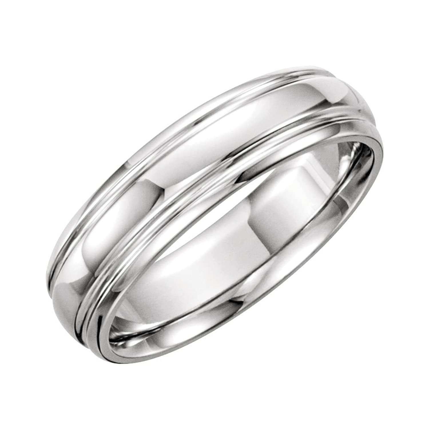 14K White 6mm Grooved Band Size 12