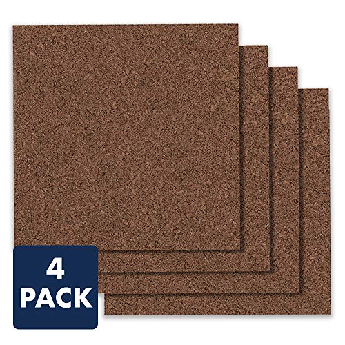"Quartet Cork Board Tiles, 12"" x 12"", Corkboard, Mini Wall Bulletin Boards, Modular, Dark Brown, 4 Pack (15050Q)"