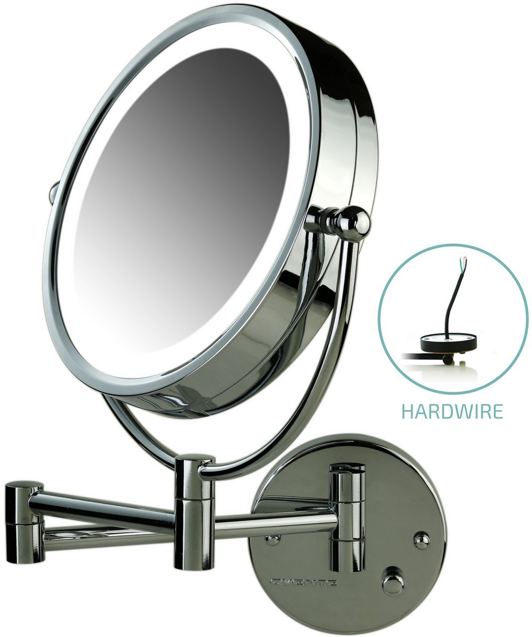 Ovente Lighted Wall Mount Mirror, 8.5 Inch, Dual-Sided 1x/7x Magnification, Hardwired Electrical Connection, Natural White LED Lights, 9-Watts, Polished Chrome (MPWD3185CH1X7X) by Ovente (Image #1)