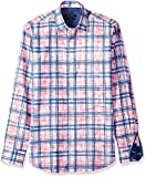 Bugatchi Men's Tailored Fit Printed Paint Stroke Checks Point Collar Shirt, Steel, M