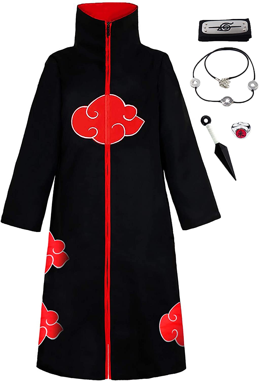 Traje de Ninja Largo Unisex Akatsuki para Disfraz de Halloween KuKiee