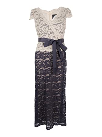 Adrianna Papell Womens Petites Lace Peplum Evening Dress Navy 4P at ...