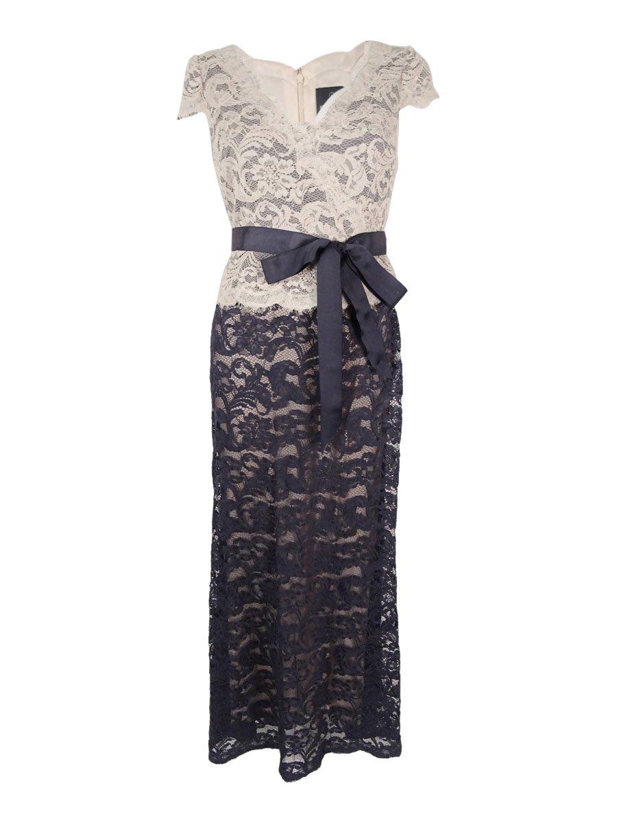 Adrianna Papell Womens Petites Lace Peplum Evening Dress Navy 4P