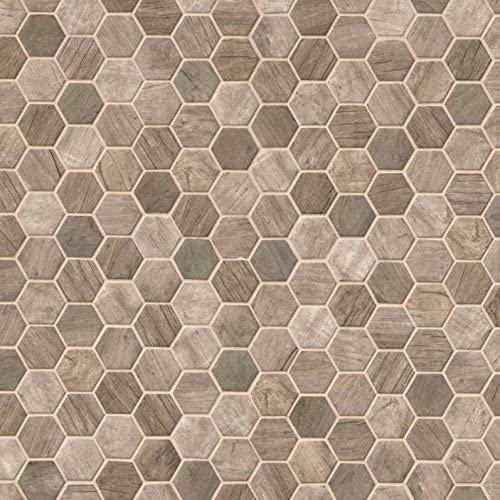 MSI Stone SMOT-GLS-DRIFT6MM Driftwood Hexagon Pattern Tile with with Matte Finish Brown