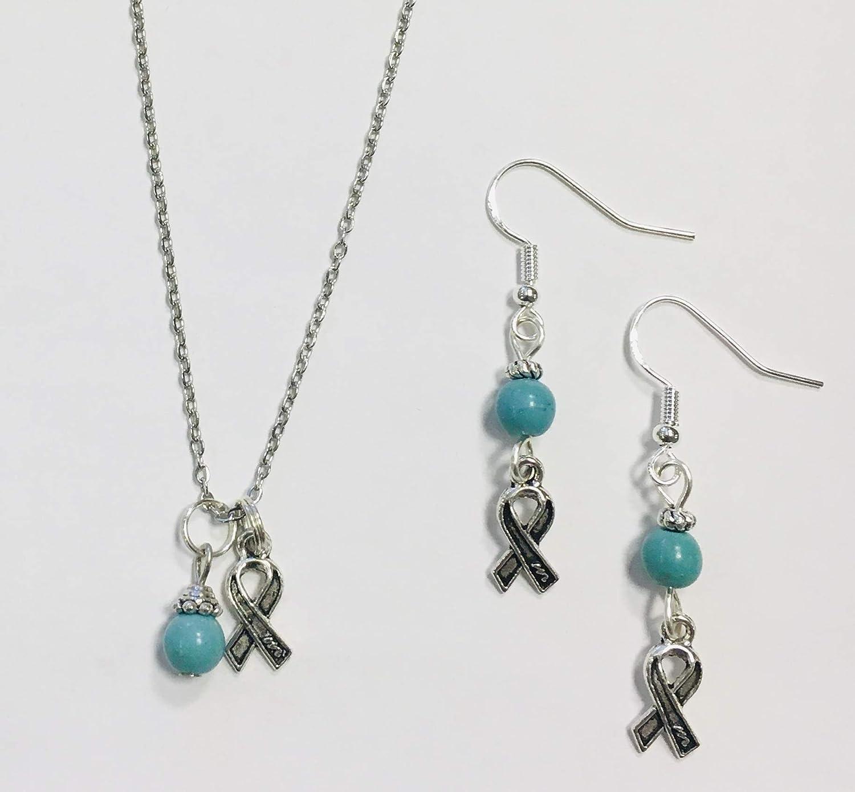 Amazon Com Ovarian Cancer Turquoise Ribbon Necklace Earring Set Handmade