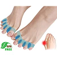 Gel Toe Separators,Toe Stretchers Toe Spacers for Cushioning and Relieve Bunion Pain Rubber Toe Straightener Achilles Stretcher for Men and Women (1 Pair)