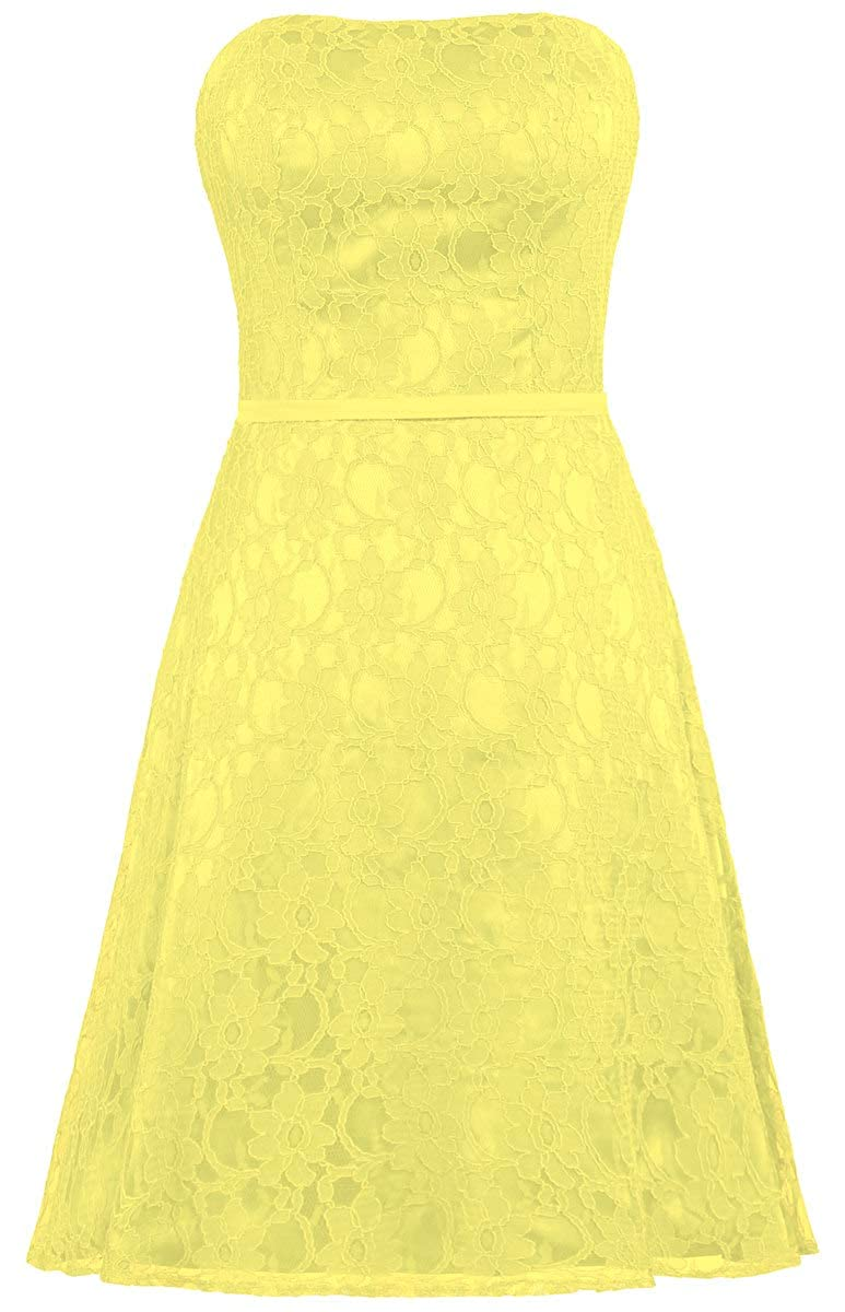 Yellow ANTS Women's Strapless Lace Bridesmaid Dresses Short Party Gown