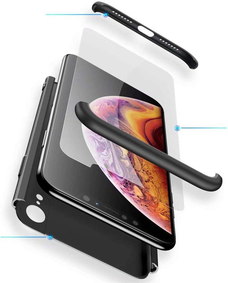 WYRHS Funda Samsung Galaxy A6 2018 Protección de 360 Grados 3 en 1 con [Protector de Pantalla de Vidrio Templado] Silicona TPU Bumper Shockproof Resistente a Los Arañazos Cover-Negro