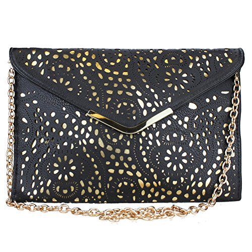 Bag Envelope Leather Vincenza Laser Cut Black Chain Gold Ladies Shoulder Evening Clutch Vintage ZqZnxP8