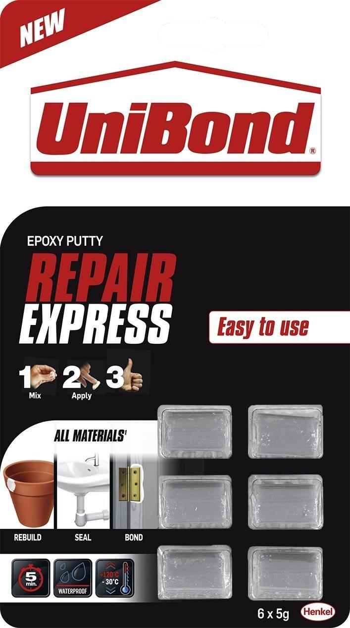 3 x UniBond 2002387 30 g Repair Express Epoxy Putty - White