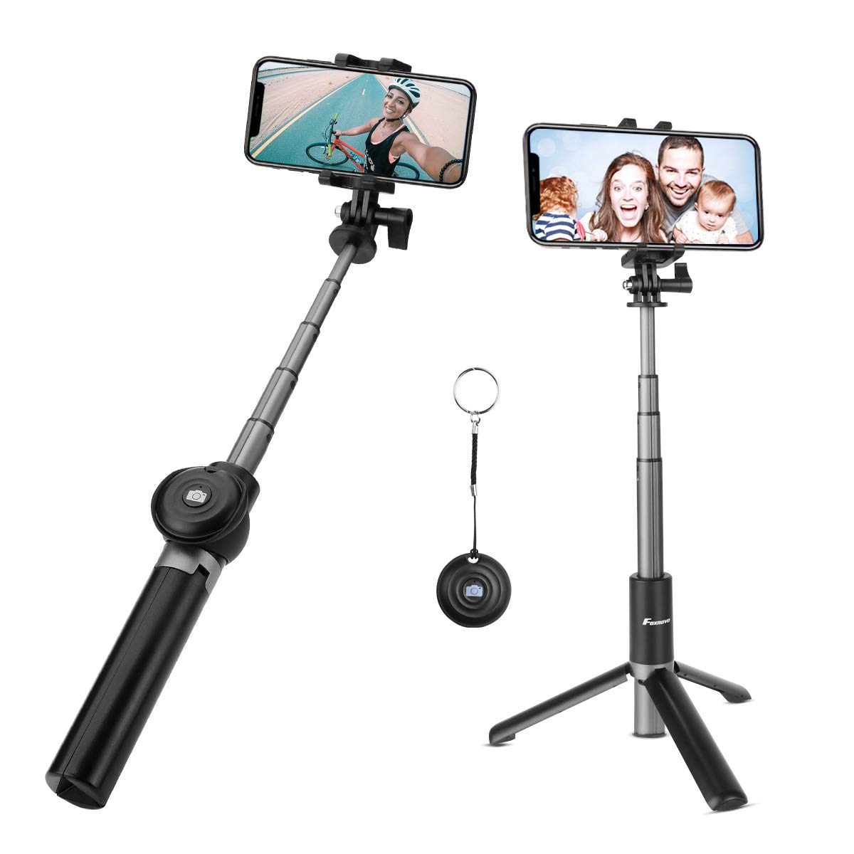 Foxnovo Selfie Stick Bluetooth, Extendable Selfie Stick with Wireless Remote Tripod Selfie Stick for iPhone X/8/7/6/Plus, Galaxy S9/S9 Plus/Note 8/S8, Android, GoPro