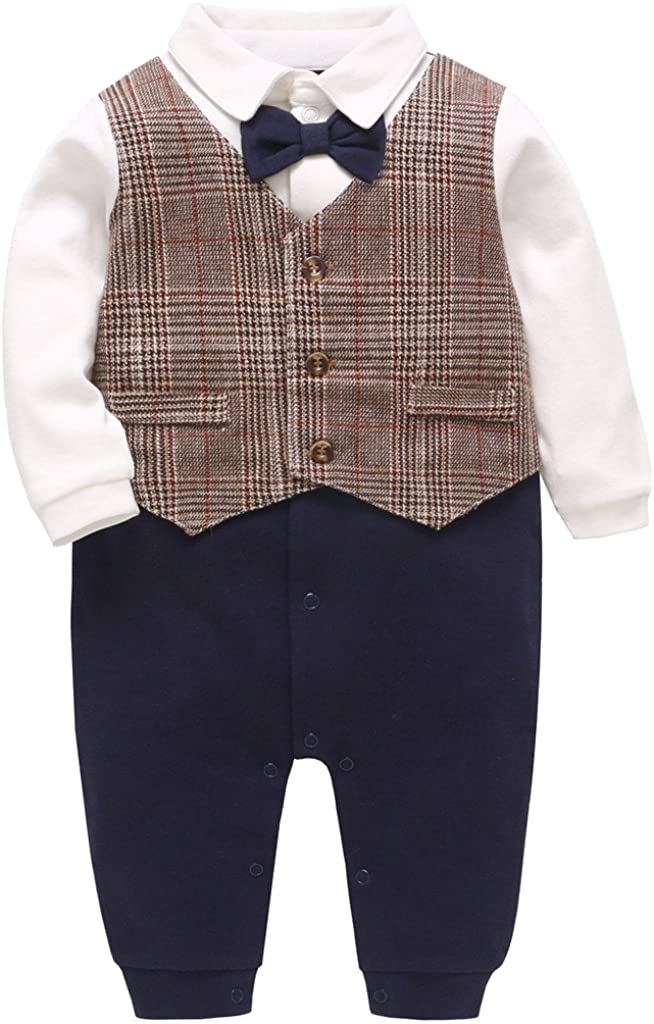 JiAmy Baby Boys Romper One-Piece Suit Gentleman Jumpsuit Bow Tie Cotton Formal Outfits for 0-18 Months