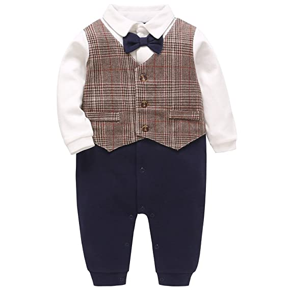 78290bc4b5bc8 JiAmy Baby Boys Rompers One-Piece Suit Gentleman Bow Tie Formal Jumpsuit  0-18 Months: Amazon.ca: Clothing & Accessories