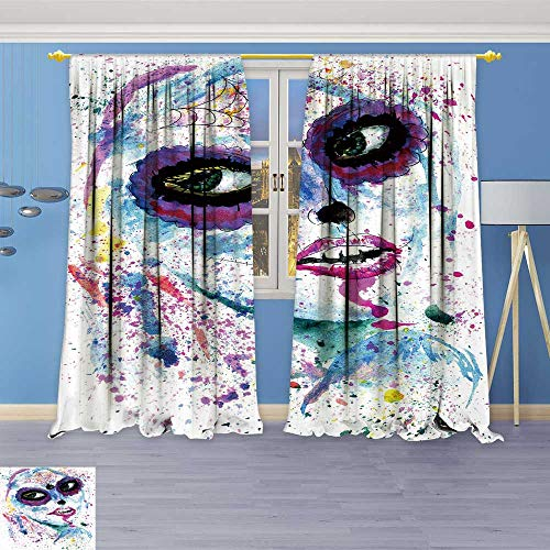 SOCOMIMI Alta Pine Forest Design Collection,Halloween Girl with Sugar Skull Makeup Paint,Living Kids Girls Room Curtain, 108W x 108L inch
