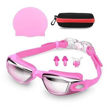 Gafas de Natación con Gorra de Natación + clip de nariz + tapones para los oídos ...