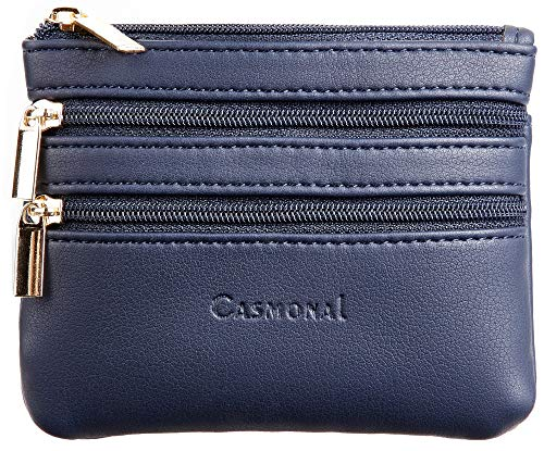 Casmonal Womens Genuine Leather Coin Change Purse Pouch Slim Minimalist Front Pocket Wallet Key Ring (Blue Navy)