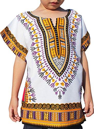 - Raan Pah Muang Unisex Bright African White Children Dashiki Cotton Shirt, 10-12 Years, Orange Peel White
