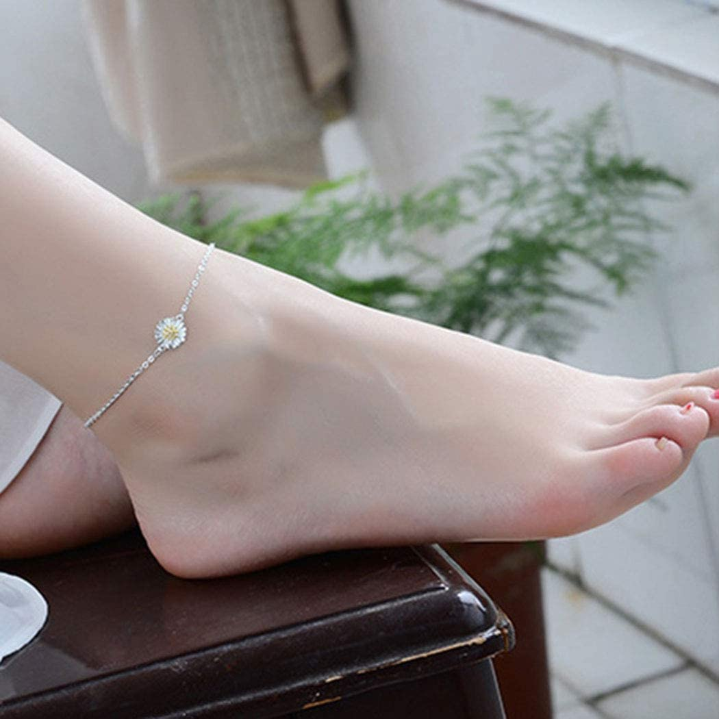 Simsly Boho Anklets Flower Ankle Bracelets Silver Beach Foot Chain Jewelry for Women and Girls