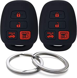 GFDesign 2Pcs Silicone 4 Buttons Key Fob Cover Remote Case Keyless Protector Compatible with Toyota Corolla Avalon Camry Highlander RAV4 Venza Yaris Scion FR-S tC HYQ12BDM HYQ12BEL HYQ12BDP